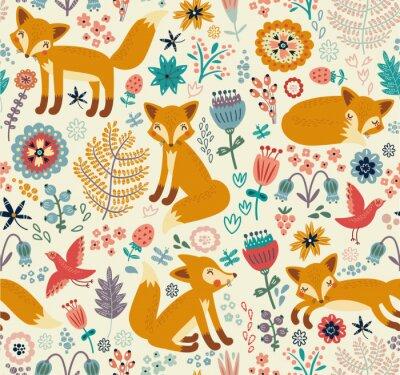 Tapeta Seamless pattern with a fox