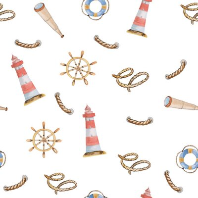 Tapeta Seamless pattern with a lighthouse, a spyglass, ropes and a helm on a white background. watercolor illustration for prints, templates, cards and posters