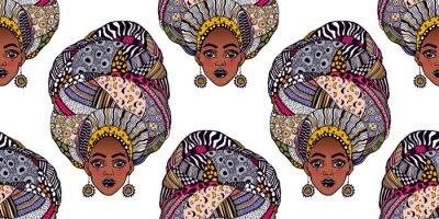 Tapeta Seamless pattern with African woman in traditional geometric turban, head wrap.