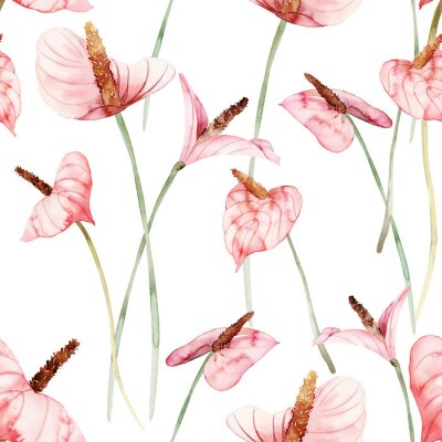 Tapeta Seamless pattern with anthuriums watercolor painting