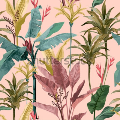 Tapeta Seamless pattern with banana leaves and flowers.