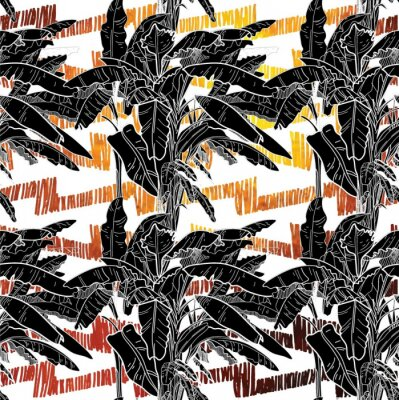 Tapeta Seamless pattern with banana palm trees. Large leaves of tropical plants. Freehand drawing in vintage style. Tropics, summer.
