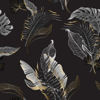 Tapeta Seamless pattern with black and white tropical leaves and golden elements. Vector.
