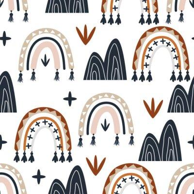 Tapeta seamless pattern with boho rainbow - vector illustration, eps