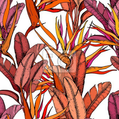 Tapeta Seamless pattern with bright tropical leaves and strelitzia flowers. Bird of Paradise flowers. Hand drawn vector illustration.