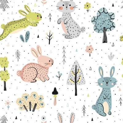 Tapeta Seamless pattern with bunnies in the forest. Childish background in modern scandinavian style. Vector illustration