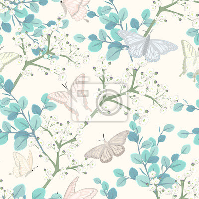 Tapeta seamless pattern with butterflies and white flowers