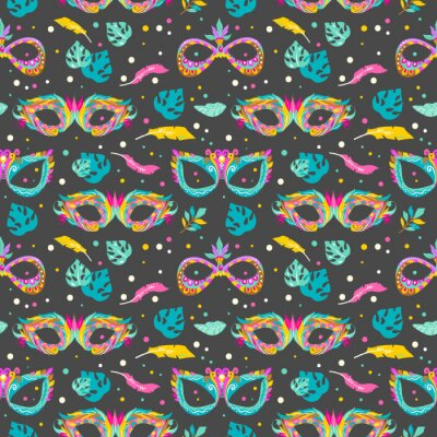 Tapeta Seamless pattern with carnival masks, leaves and feathers