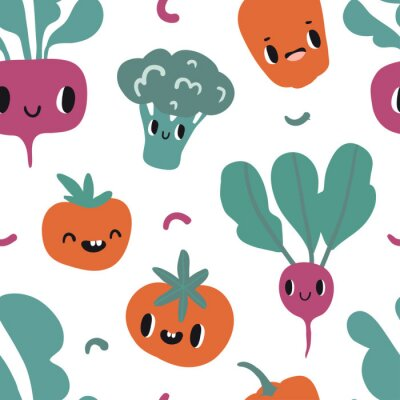 Tapeta Seamless pattern with cartoon smile vegetable characters