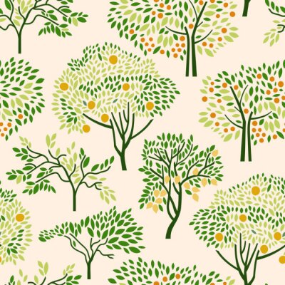 Tapeta Seamless pattern with citrus trees mandarin, orange, lemon. Surface design. Vector illustration.