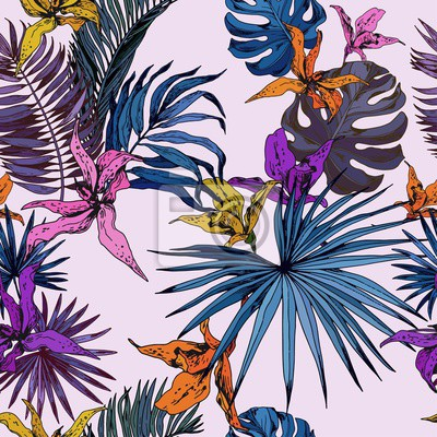 Tapeta Seamless pattern with colorful orchid flowers and tropical leaves on pink background. Hand drawn vector illustration.