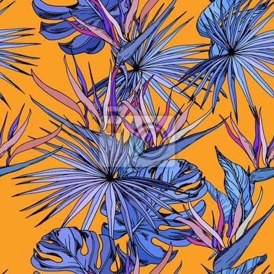 Tapeta Seamless pattern with colorful tropical leaves and exotic strelitzia flowers. Bird of Paradise flowers. Hand drawn vector illustration on orange background.