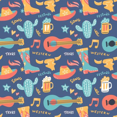 Tapeta Seamless pattern with country music elements. Music background. Vector flat hand drawn doodle illustration