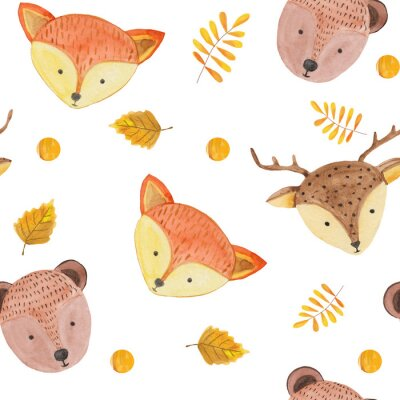 Tapeta Seamless pattern with cute forest animals, leaves and blots on a white background. watercolor illustration for prints, textiles, banners and scrapbooking