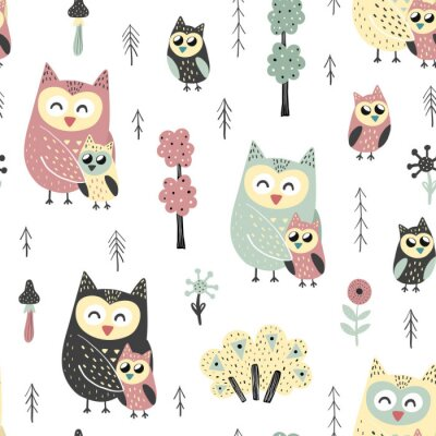 Tapeta Seamless pattern with cute owls - mother and baby. Forest vector illustration