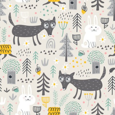 Tapeta Seamless pattern with cute wolf and white bunny in the forest . Vector background for children. Scandinavian style.