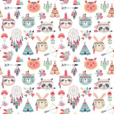 Tapeta Seamless pattern with Cute Woodland boho tribal pattern, rabbit, owl, sloth, panda,bear. American indian set of