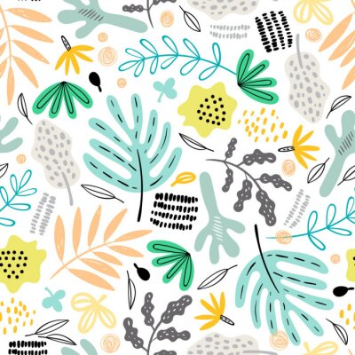 Tapeta Seamless pattern with decorative plants and flowers in doodle style. Perfect for kids fabric, textile, nursery wallpaper. Scandinavian style.