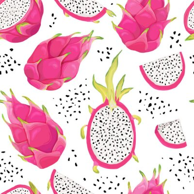 Tapeta Seamless pattern with dragon fruits, pitaya background. Hand drawn vector illustration in watercolor style for summer romantic cover, tropical wallpaper, vintage texture