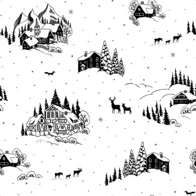 Tapeta Seamless pattern with drawing winter landscape, houses, chalets and animals. Vector Christmas illustration in vintage style.