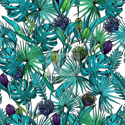 Tapeta Seamless pattern with exotic flowers and blue tropical leaves. Hand drawn vector illustration.