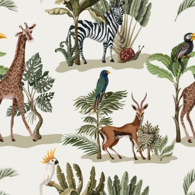 Tapeta Seamless pattern with exotic trees and animals. Interior vintage wallpaper.