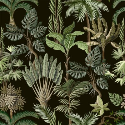 Tapeta Seamless pattern with exotic trees such us palm, monstera and banana. Interior vintage wallpaper.