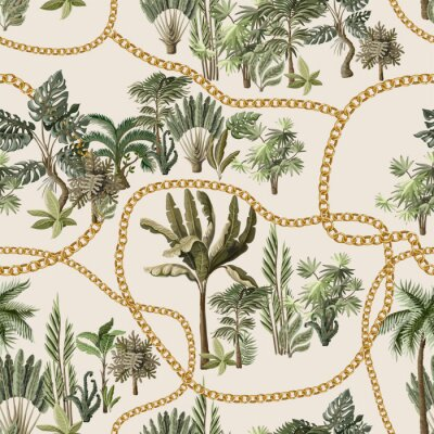 Tapeta Seamless pattern with exotic trees such us palm, monstera and banana with chains.