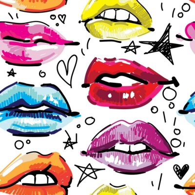Tapeta Seamless pattern with female lips. Makeup, cosmetics. Lovely smiles. Multicolored lips, female pattern. Drawing markers, pop art.