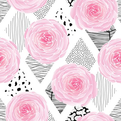 Tapeta Seamless pattern with flowers on texture background.. Freehand drawing