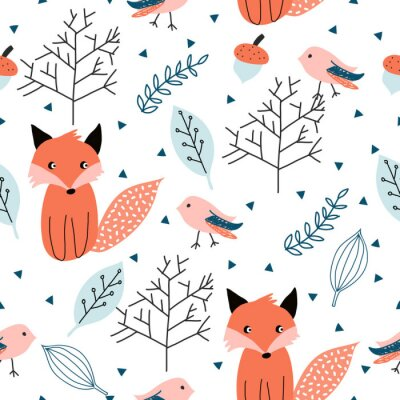 Tapeta Seamless pattern with forest animals.