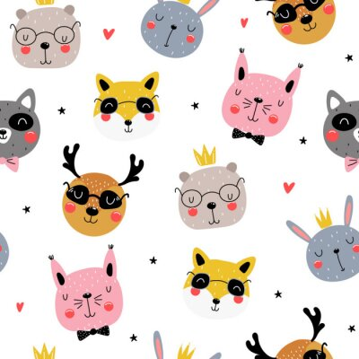 Tapeta Seamless pattern with funny animals