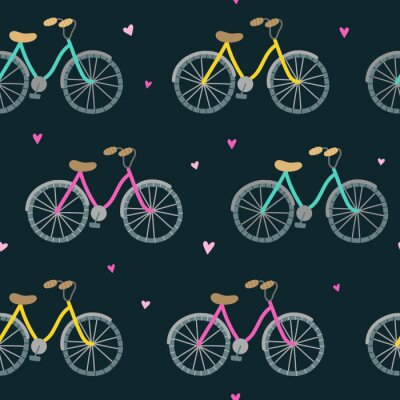 Tapeta Seamless pattern with funny bicycles. Vector background with bikes