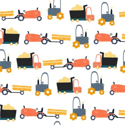 Tapeta Seamless pattern with funny farm transports. Kids trendy print. Vector hand drawn illustration.