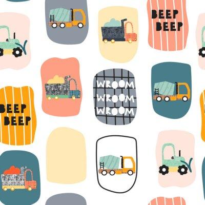 Tapeta Seamless pattern with funny transport. Trendy kids print. Vector hand drawn illustration.
