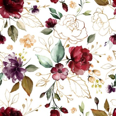 Tapeta Seamless pattern with gold and burgundy flowers and leaves. Hand drawn background.  floral pattern for wallpaper or fabric. Flower rose. Botanic Tile.