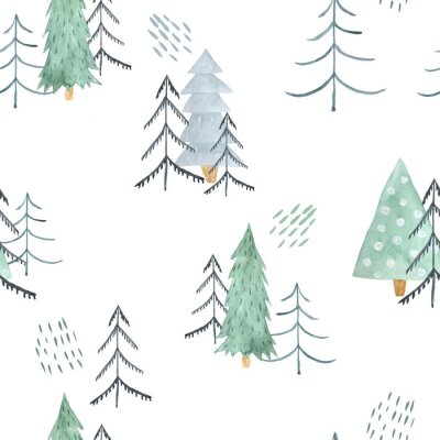 Tapeta Seamless pattern with green Christmas Trees
