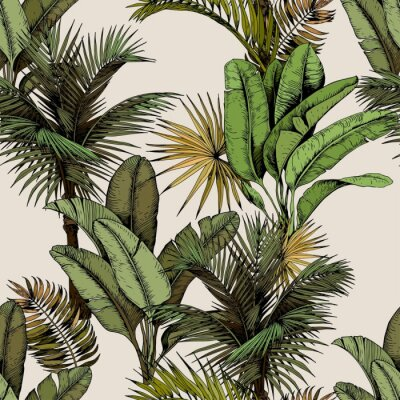 Tapeta Seamless pattern with green tropical palm and banana leaves. Hand drawn vector illustration on beige background.