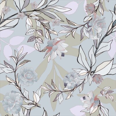 Tapeta Seamless pattern with grey roses and leaves on light background. Tropical flowers, lily. Vector illustration with plants. Gentle pastel colors.