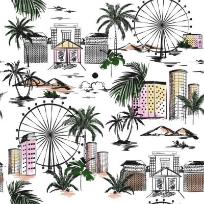 Tapeta Seamless pattern with hand drawn doodle city summer mood with beach vibes palm trees and mountain Vector illustration of urban vacation , design for card, posters, textile prints, covers,