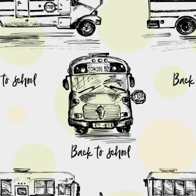 Tapeta Seamless pattern with hand-drawn sketch bus, isolated background Back to school theme, education concept Black and white vintage illustration. Graphic art element for textile design, wallpaper