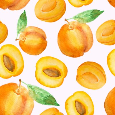 Tapeta Seamless pattern with hand drawn watercolor peaches