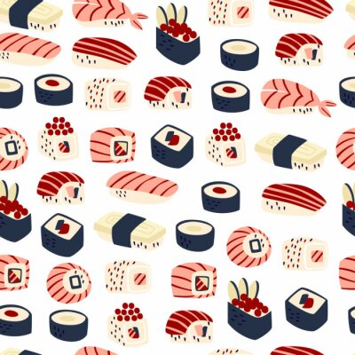 Tapeta Seamless Pattern with Hands Drawn Traditional Japanese Food. Vector Doodle Illustration.