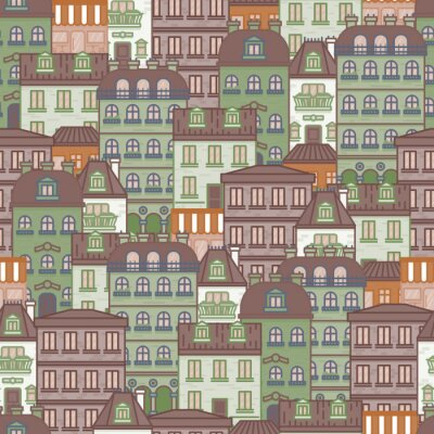 Tapeta seamless pattern with houses and buildings of Paris vector illustration