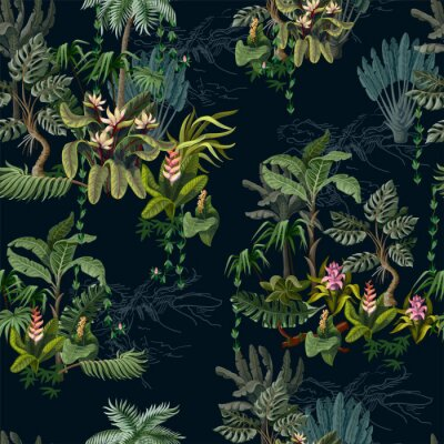 Tapeta Seamless pattern with jungle trees and flowers. Vector.