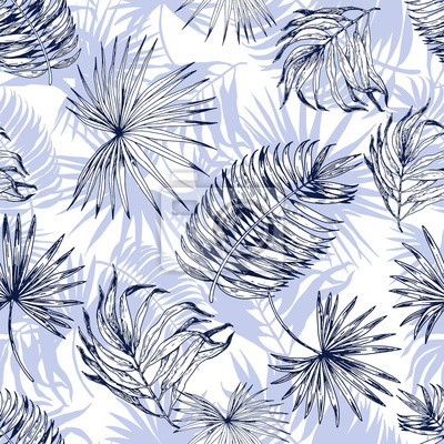 Tapeta Seamless pattern with light blue tropical leaves. Hand drawn vector illustration.