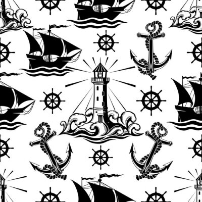 Tapeta Seamless pattern with lighthouse ships and anchors on a white background.