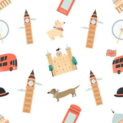 Tapeta Seamless pattern with London ladmarks