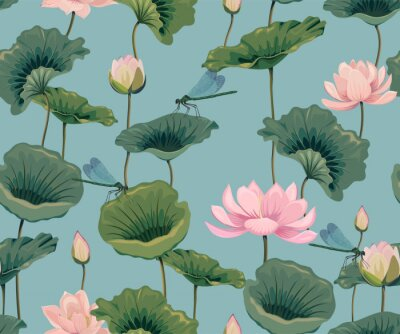 Tapeta seamless pattern with lotuses and dragonflies