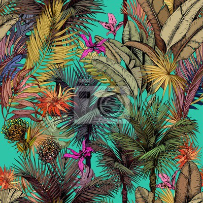 Tapeta Seamless pattern with multicolored tropical leaves and flowers. Hand drawn vector illustration.